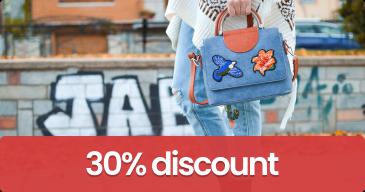 women holding bag, 30% discount